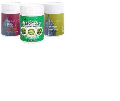 In-Liven Probiotic Superfood and Berry Radical Antioxidant Superfood with the addition of our new, revolutionary DeepGreen Alkalising Superfood. Formulated to nourish and alkalise your body with the most potent and nutrient dense deep-green foods on the planet. 100% raw, vegan, and certified organic DeepGreen Alkalising Superfood is the perfect compliment to In-Liven and Berry Radical.